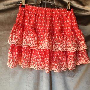 Rachael & Chloe Red Mini Skirt Cotton Embroidery